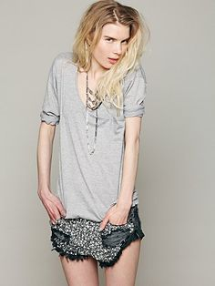 Free People We The Free Retro Solid Three Quarter Sleeve Top