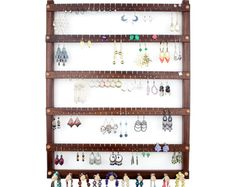 Jewelry Holder - Earring Holder, Hanging, Black Walnut, Wood. Holds 120 pairs, 10 pegs.  Wall Mounted Jewelry Organizer - Jewelry Display