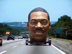 This giant, terrifying Eddie Murphy head that looks like a badly photoshopped and probably racist 4chan meme, was actually part of an enormous bust they were building to promote the movie, Meet Dave.