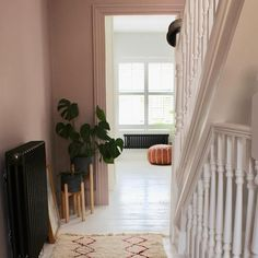 Home Decoration For Birthday Party Info: 6454448463 Pink Hallway, Black Hallway, Hallway Colours, Wall Colors, Victorian Terrace Hallway, Victorian Living Room, Living Room Paint, Living Room Colors, Room Interior