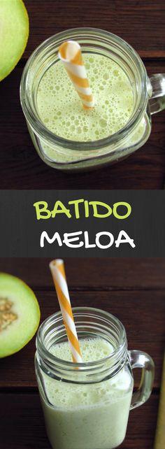 Batido de meloa | Food From Portugal. Quer preparar uma bebida refrescante para o Verão? Temos uma excelente sugestão para si! Um batido de meloa muito refrescante, saboroso e fácil de preparar. #bebida #receita #meloa