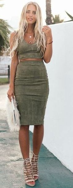 #summer #ultimate #outfits | Khaki Suede Set