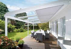 A beautiful addition to any patio. The Weinor Terrazza glass roof with the Sottezza II awning for shading. #garden #design