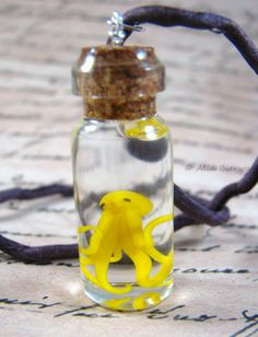 Yellow Octopus Glass Bottle Necklace Handmade by Outpost8 on Etsy, $32.00
