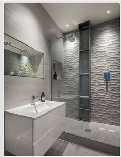Small Bathrooms Tiles Design bathroom tile idea - install 3d tiles to add texture to your