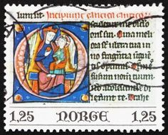 NORWAY - CIRCA 1977 a stamp printed in the Norway shows Virgin and Child, from the Bible of Bishop Aslak Bolt, 13th Century, Christmas, circa 1977