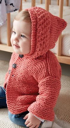 Free Knitting Pattern for In the Details Baby Hoodie