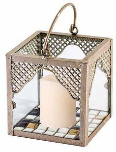 Lanterna / Luminária Porta Vela Em Metal Com Vela De Led - R$ 44,90 em Mercado Livre