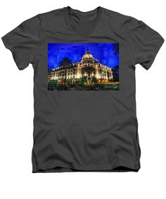 Men's V-Neck T-Shirt - Le Negresco Hotel In Nice France