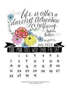 Mandipidy: Free Printable: July 2013 Calendar