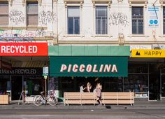 we're headed to Melbourne, australia for a sweet, tasty treat. we're getting dressed for the very darling, italia-inspired piccolina gelateria. Signage Design, Typography Design, Branding, Café Bistro, Hecker Guthrie, San Francisco Girls, Shop Facade, Big Chill, Terrazzo Flooring