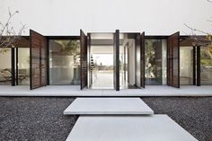 Stone and glass facade
