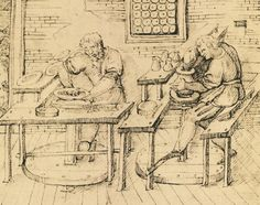 """""""Ceramists Shaping Wares"""" circa 1557, sketch from Cipriano Piccolpasso's """"The…"""