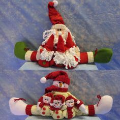 PACK OF 2 CHRISTMAS SANTA SNOWMAN DOORSTOPS DRAUGHT EXCLUDERS WINDOW DECORATIONS #FDC