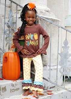 The Hair Bow Company   Thanksgiving Polka Dot Give Thanks Pants Set for Fall