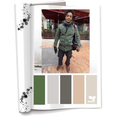 Paleta de color: Colores Frios (Negro, gris,verde) Ropa: Pantalón,chaqueta camuflada, bufanda, guantes y tenis. Accesorios:Mochila. Es una persona descomplicada,relajada