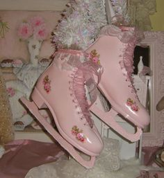 decorating with pink ice skates ... ohhhh pretty