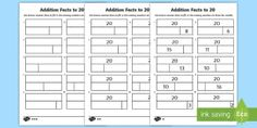Addition Facts to 20 Activity Sheets - KS1 Maths, addition facts, number facts, counting,Worksheets