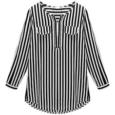 Yoins Plus Size Black Vertical Striped Shirt-Black/White... (1.220 RUB) ❤ liked on Polyvore featuring tops, shirts, black, plus size embellished tops, black shirt, plus size black shirts, black and white plus size tops and plus size shirts