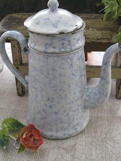 French vintage. Enamelware Biggin Coffee Pot.