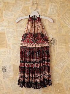 Vintage Batik Printed Halter Dress