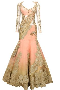 Peachy pink embroidered lehenga sari by Gaurav Gupta. It's like a mermaid gown but Desi style! Indian Bridal Wear, Indian Wedding Outfits, Indian Wear, Indian Outfits, Indian Gowns, Indian Attire, Indian Sarees, Saris, Lehenga Sari