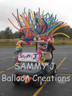 This is a great marketing vehicle (ahem!) for this balloon guy but pretty easy to copy on your own golf cart.