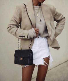 Spring And Summer Vibes Street Style - Damen Mode 2019 Mode Outfits, Casual Outfits, Fashion Outfits, Blazer Outfits, Casual Skirts, Fashion Ideas, Fashion Tips, Looks Cool, Looks Style