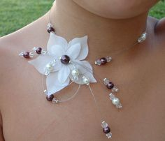 Collier petite fille fleur ivoire chocolat mariage by Zalanya, $21.00