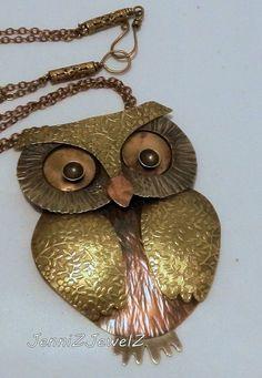 SOLD...Mixed Metal Owl pendant by JenniZJewelZ on Etsy