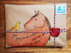 Hourse and Bird mail-art parcel. Envelope Lettering, Envelope Art, Envelope Design, Pen Pal Letters, Pocket Letters, Letter Art, Letter Writing, Mail Design, Mail Art Envelopes