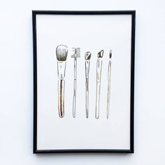 Gold Foil Makeup Brushes Fashion Art Print