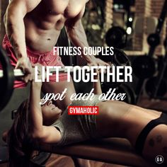 Fitness couples lift together