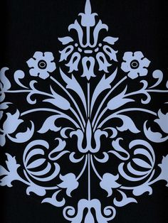 A classy black & blue damask wallpaper by Amy Butler. Get it now from AmericanBlinds.com #wallcovering