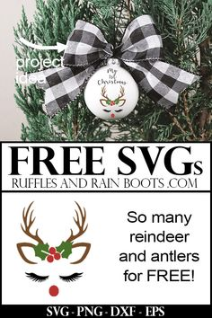 Free Christmas SVGs These reindeer SVGs (and other cut file types) make it easy to craft for the holidays. I can't believe the selection – click through to see they're all free! Cricut Christmas Ideas, Christmas Vinyl, Diy Christmas Ornaments, Christmas Projects, Holiday Crafts, Christmas Holidays, Kids Ornament, Vinyl Ornaments, Xmas