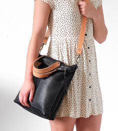 e80656c11f8 Black Leather Crossbody Bag Convertible to Backpack, Leather Foldover Bag  Tote Bag; The TAMBALE