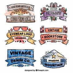 Pintados à mão banners Logotipo do vintage