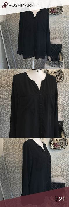 Mossimo black long sleeve top 31 inches in length sleeves 26 inches in length has one front pocket buttons all the way down fabric is a little sheer Mossimo Supply Co Tops