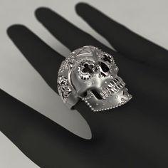 Mexican Catrina Skull Silver Ring by ArteJoyasJewellery on Etsy
