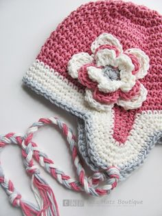 SALE - 6 to 12 mos - Three Color Earflap Hat with Deatchable 3 Layer Flower
