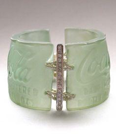 Amanda Jaron, jewelry artist; recycled Coca-Cola bottle bracelet with diamonds and pearls.