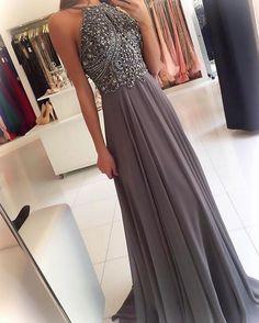 silver gray prom dress,halter prom dress,long prom gowns,beaded #promdresseslong