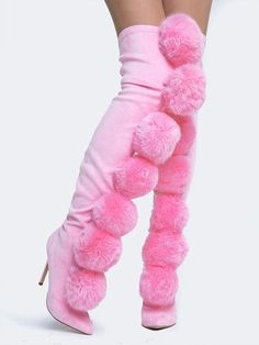 These Fury Pom Pom Thigh-High Boots are gunna show ya how it's done, These amazing thigh-high boots feature a stretchy pull-on style that grips yer curves, smoo Hot High Heels, High Heels Stilettos, Thigh High Boots, High Heel Boots, High Socks, Above Knee Boots, Thigh Highs, Thighs, Creations