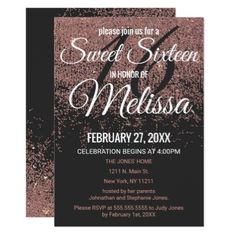 Rose Gold Glitter Sparkles Black Sweet 16 Card - birthday cards invitations party diy personalize customize celebration