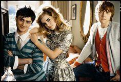Daniel Radcliffe, Emma Watson, and Rupert Grint in Teen Vogue 2007.
