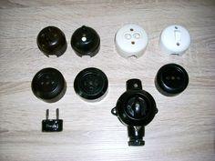 Antike Lichtschalter Steckdosen Tastschalter Bakelit Porzellan Aufputz