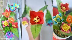 Origami tulip flower craft - Make stunning paper flowers - Craftionary . Nylon Flowers, Tulips Flowers, Crafts To Make, Easy Crafts, Construction Paper Crafts, Hanging Flower Pots, Flower Arrangements Simple, How To Make Paper Flowers, How To Make Origami