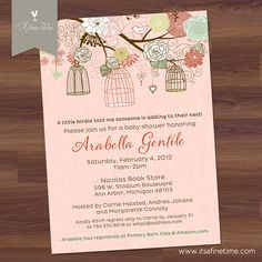 Baby Shower Invitation  Bird Cages & Blooms  Rose  by ItsAFineTime, $15.00
