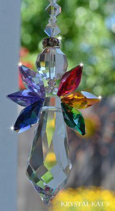 "8-12"" Long Rainbow Baby Crystal Angel Suncatcher"