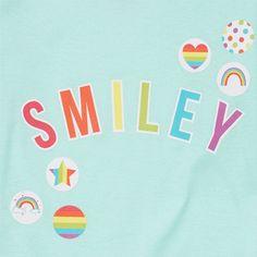 Girls Long Sleeve 'Smiley' Graphic Top And Rainbow Print Pants Pj Set